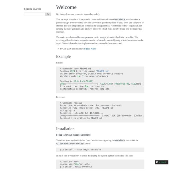 Welcome — Magic-Wormhole 0.11.2+75.ga5e011f.dirty documentation