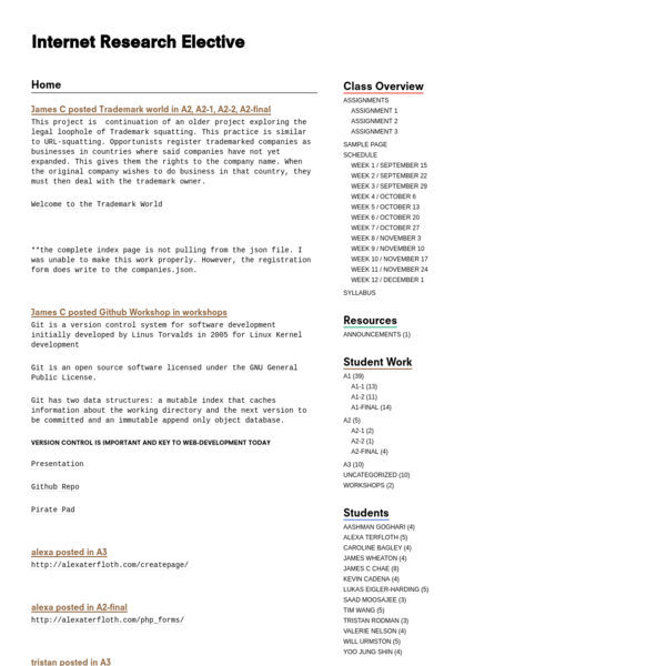 Internet Research Elective | 2015/16 Fall
