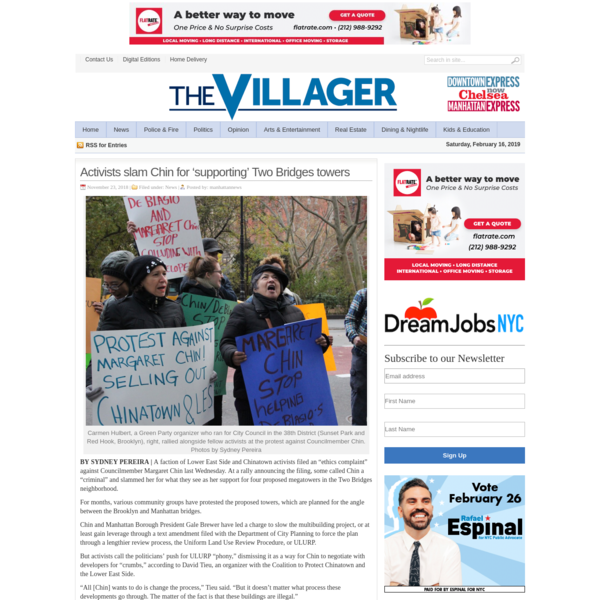 Activists slam Chin for 'supporting' Two Bridges towers - The Villager