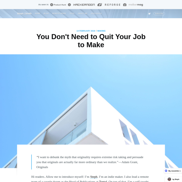 You Don't Need to Quit Your Job to Make