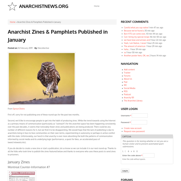 Anarchist Zines & Pamphlets Published in January