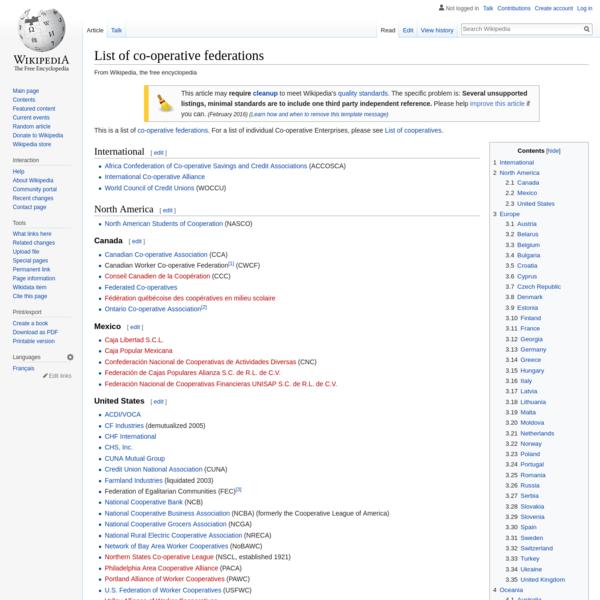 List of co-operative federations - Wikipedia