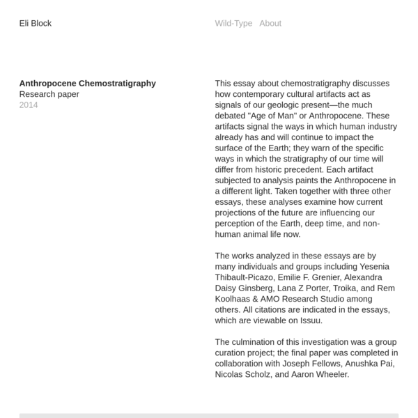 Anthropocene Chemostratigraphy - Eli Block
