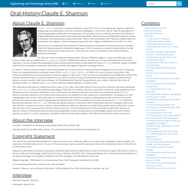 Oral-History:Claude E. Shannon - Engineering and Technology History Wiki