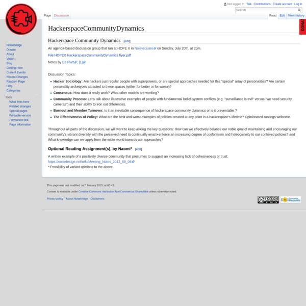HackerspaceCommunityDynamics - Noisebridge