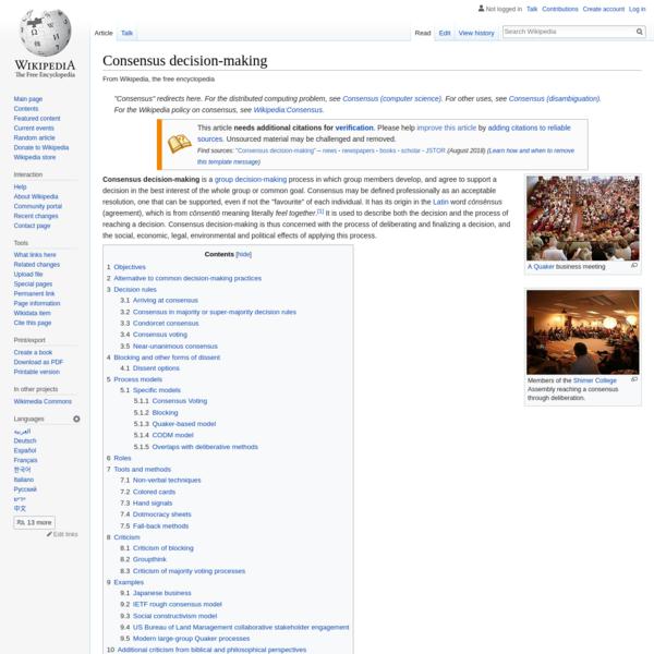 Consensus decision-making - Wikipedia
