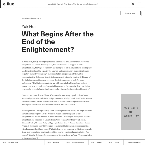 What Begins After the End of the Enlightenment?