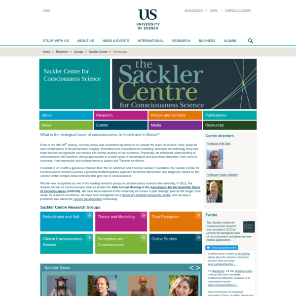 Homepage : Sackler Centre for Consciousness Science : University of Sussex