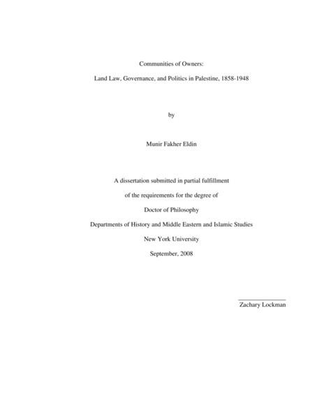 Munir Fakher Eldin, Land Law, Governance, and Politics in Palestine, 1858-1948
