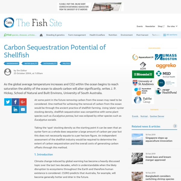 Carbon Sequestration Potential of Shellfish