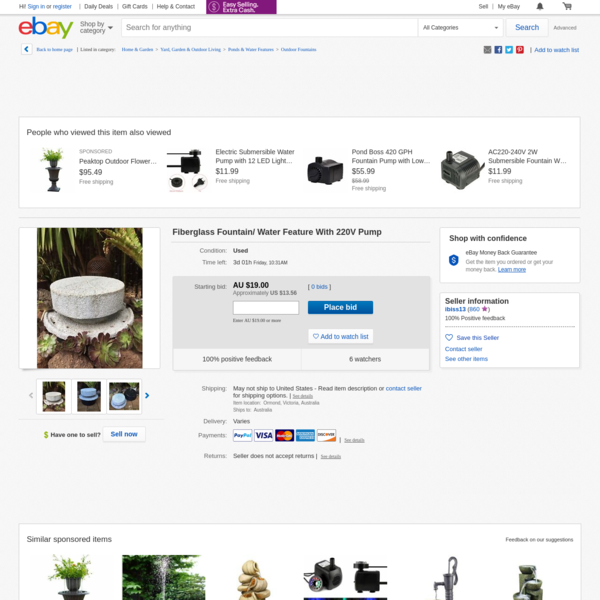 Fiberglass Fountain/ Water Feature With 220V Pump | eBay
