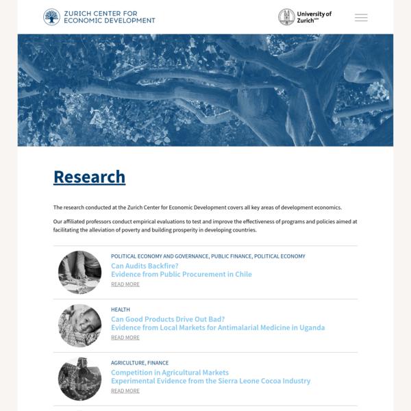 Zurich Center for Economic Development - Research