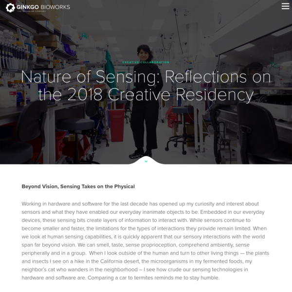 Nature of Sensing: Reflections on the 2018 Ginkgo Creative Residency - Ginkgo Bioworks