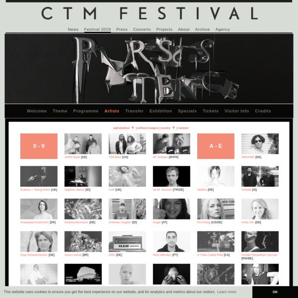 Artists :: CTM Berlin - Festival for Adventurous Music and Art