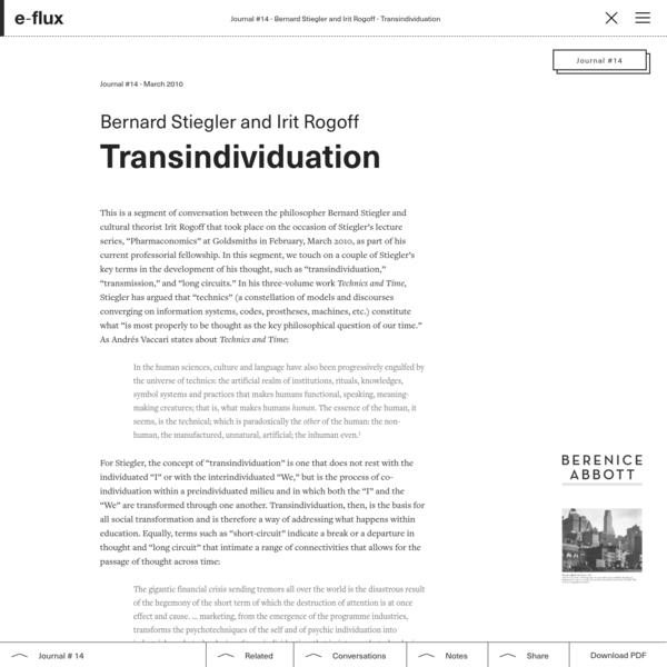 Transindividuation - Journal #14 March 2010 - e-flux