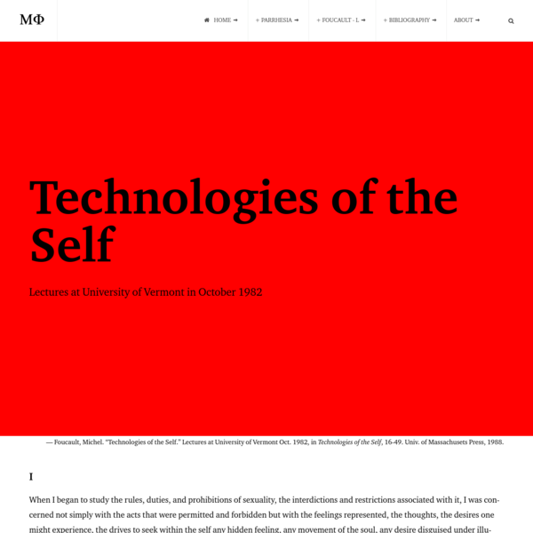 Technologies of the Self