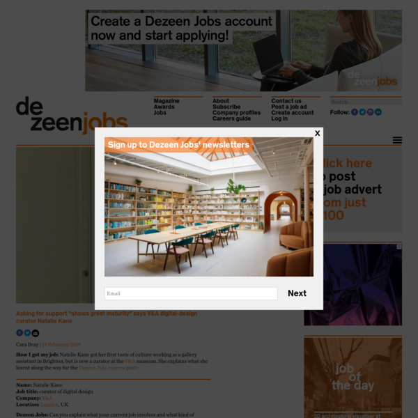Dezeen Jobs careers guide: Natalie Kane digital design curator at the V&A