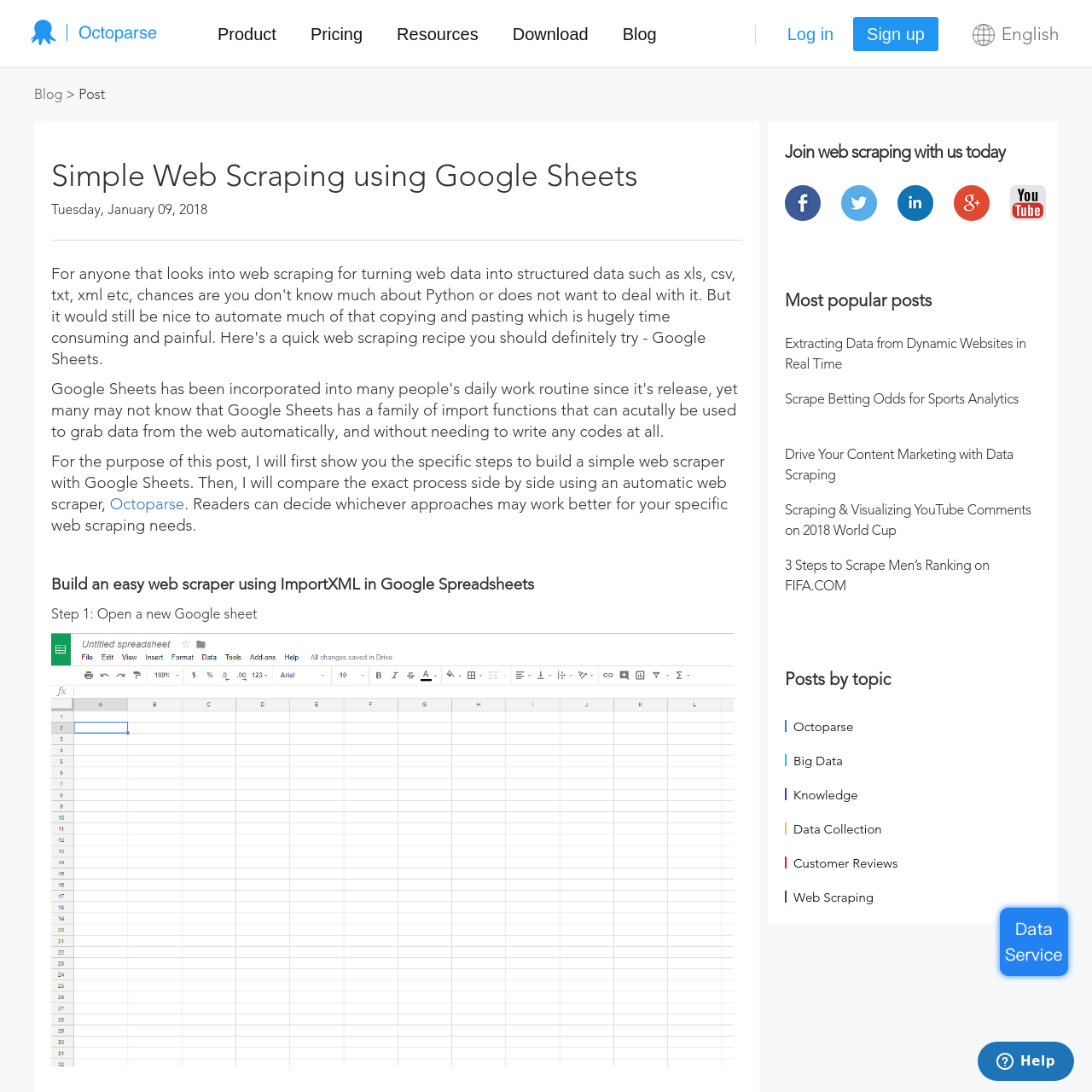 Are na / Simple Web Scraping using Google Sheets | Octoparse