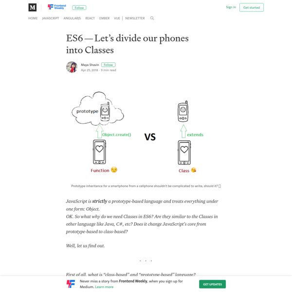 ES6 - Let's divide our phones into Classes - Frontend Weekly - Medium
