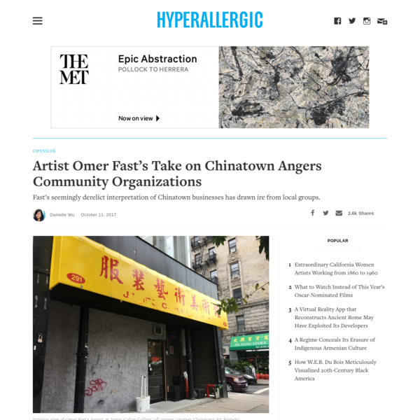 Artist Omer Fast's Take on Chinatown Angers Community Organizations