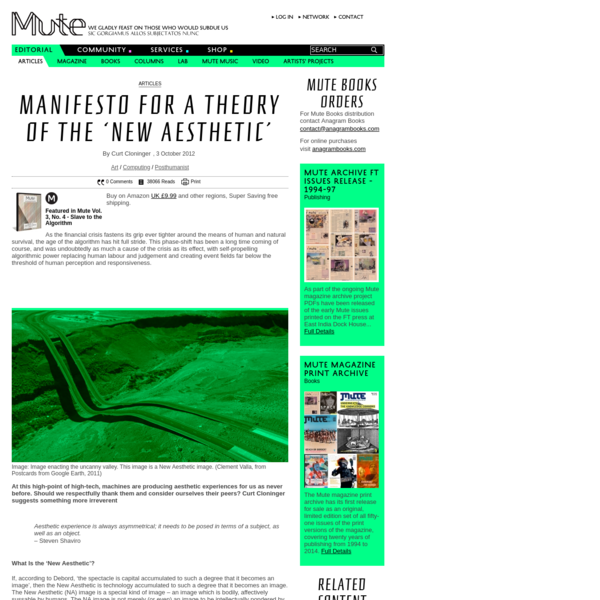 Manifesto for a Theory of the 'New Aesthetic'