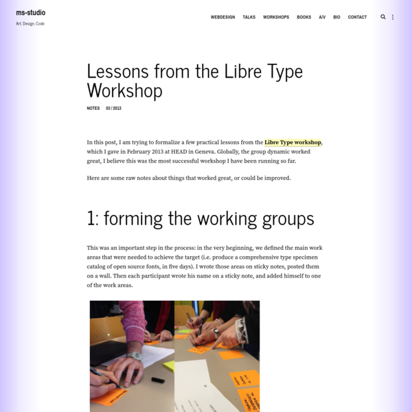 Lessons from the Libre Type Workshop