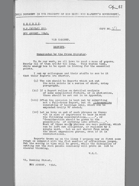 Memo from Winston Churchill