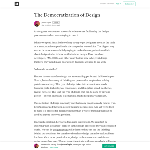 The Democratization of Design - Joshua Taylor - Medium