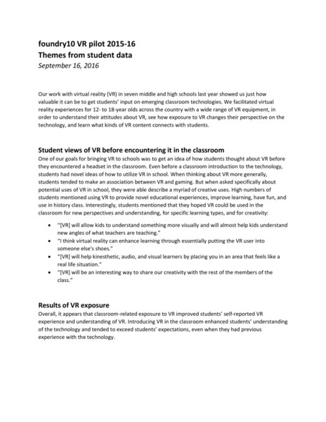 Themes From Student Data