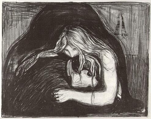 """Munch, Vampir 1895/1902 lithograph (38 x 55); Raum 2 - """"Femme fatale"""""""