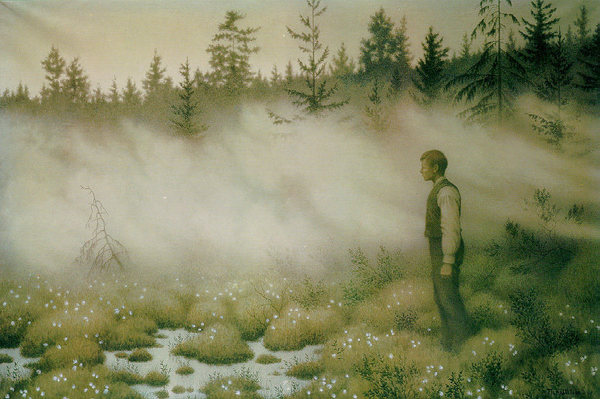 Årsgång is the Swedish tradition of a solitary, night-time walk in the forest. Theodor Kittelsen