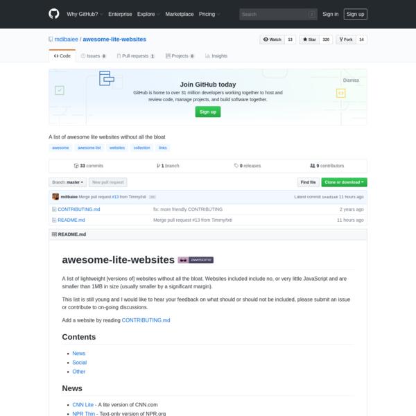mdibaiee/awesome-lite-websites
