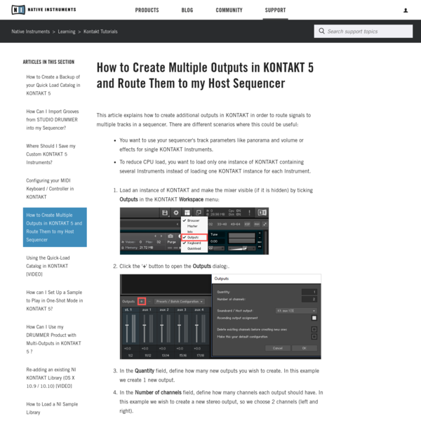 How to Create Multiple Outputs in KONTAKT 5 and Route Them to my Host Sequencer
