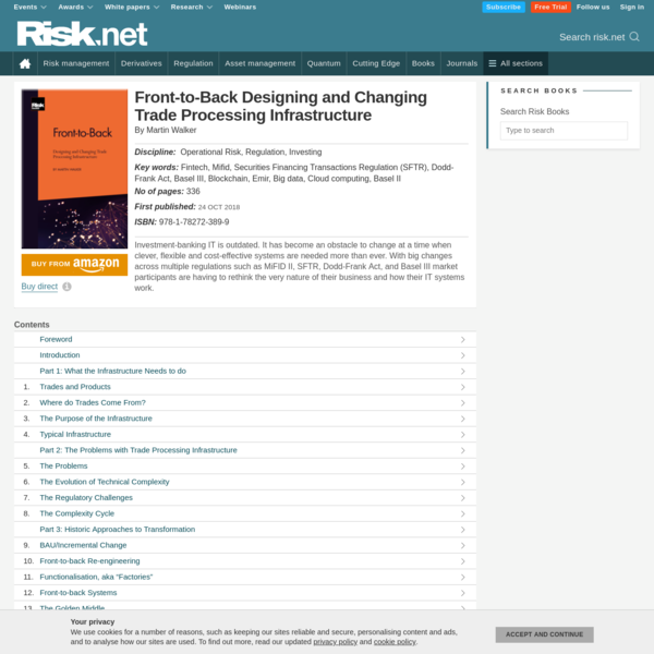Front-to-Back Designing and Changing Trade Processing Infrastructure - Risk.net