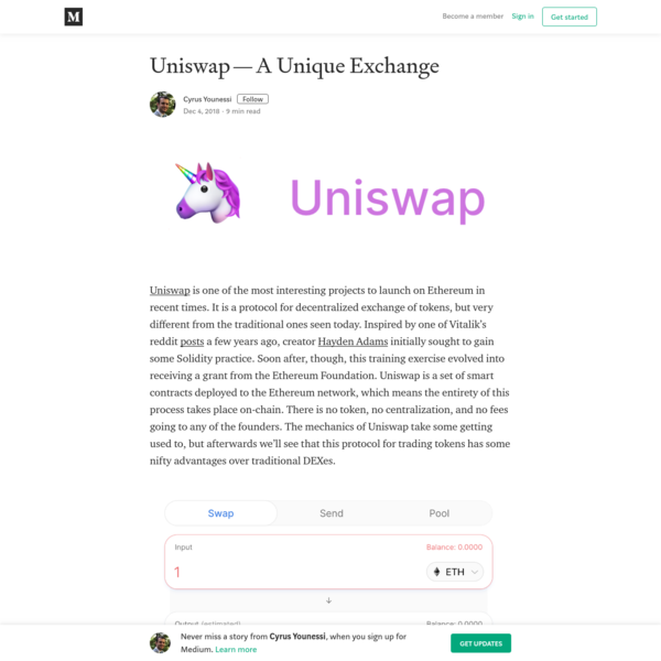 Uniswap - A Unique Exchange - Cyrus Younessi - Medium