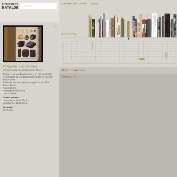 Kategorien des Wissens die Sammlung als epistemisches Objekt; im Sitterwerk Katalog
