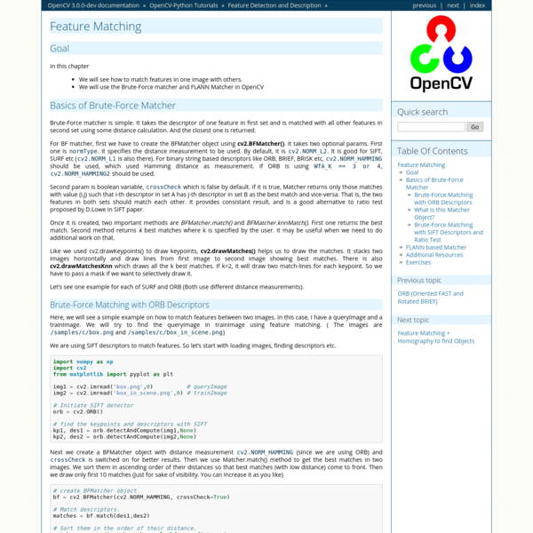 Feature Matching - OpenCV 3.0.0-dev documentation