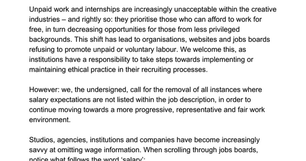 AGAINST UNDISCLOSED SALARIES - An Open Letter