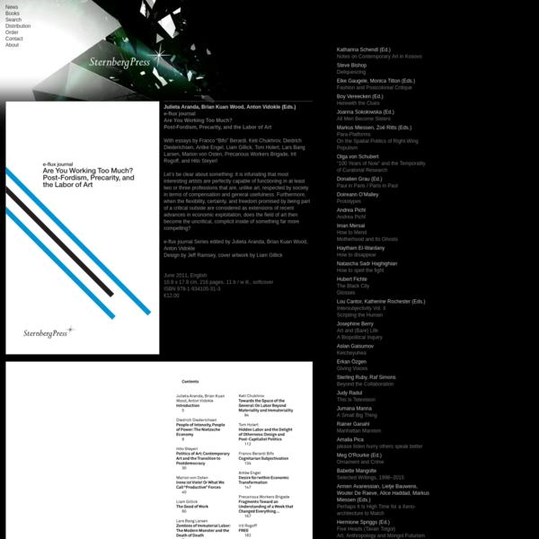 Sternberg Press - Julieta Aranda, Anton Vidokle, Brian Kuan Wood (Eds.)