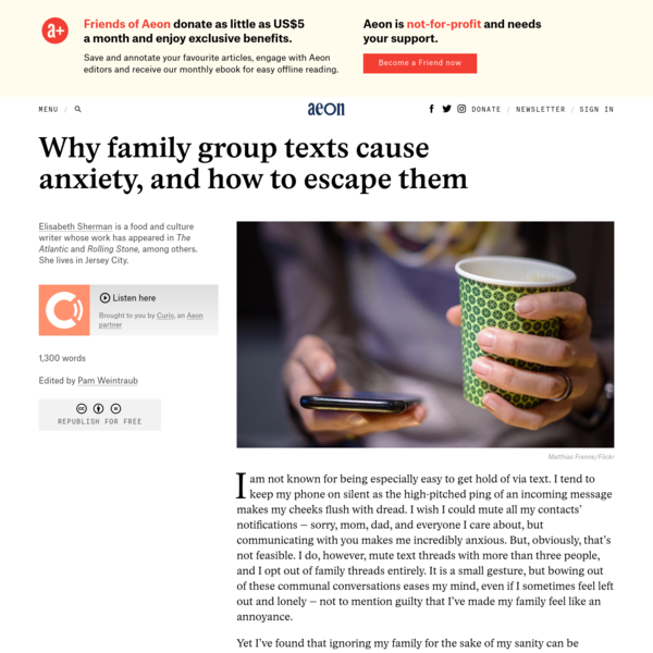 Why family group texts cause anxiety, and how to escape them - Elisabeth Sherman | Aeon Ideas