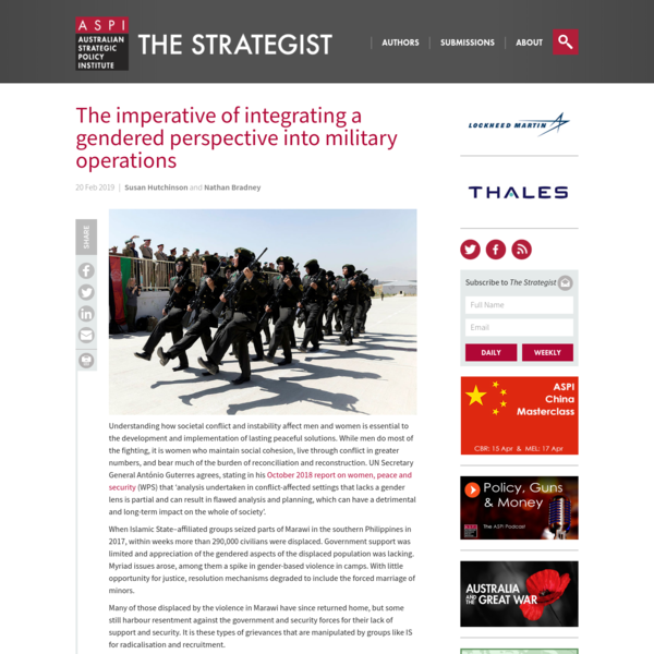 The imperative of integrating a gendered perspective into military operations | The Strategist