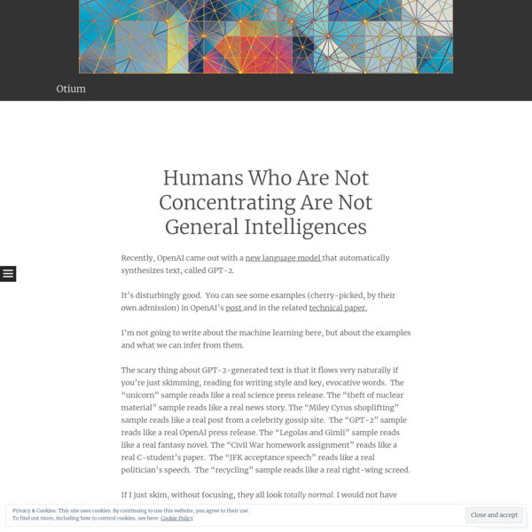 Humans Who Are Not Concentrating Are Not General Intelligences