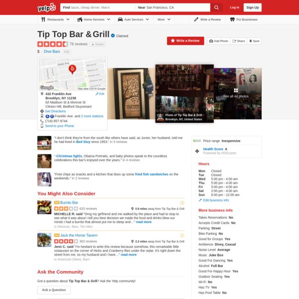 Tip Top Bar & Grill - Clinton Hill - Brooklyn, NY
