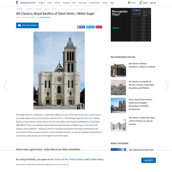 AD Classics: Royal Basilica of Saint-Denis / Abbot Suger