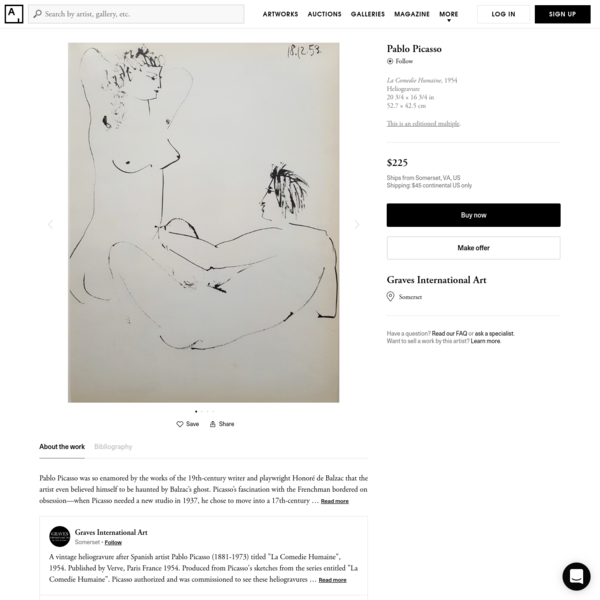 Pablo Picasso   La Comedie Humaine (1954)   Available for Sale   Artsy