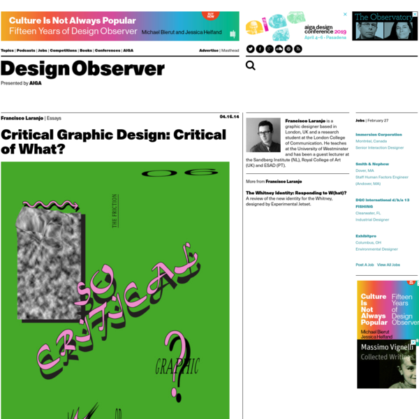 Critical Graphic Design: Critical of What?