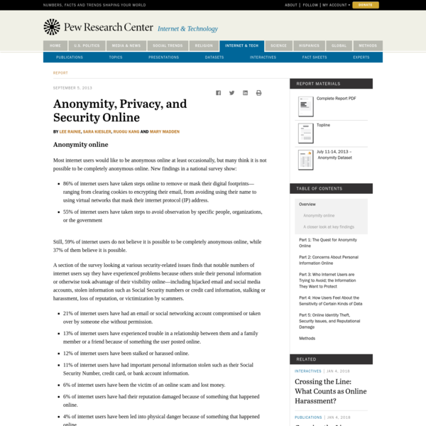 Anonymity, Privacy, and Security Online
