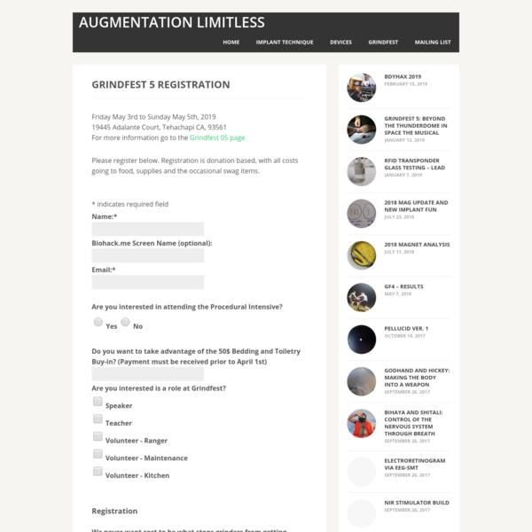 Grindfest 5 Registration   Augmentation Limitless
