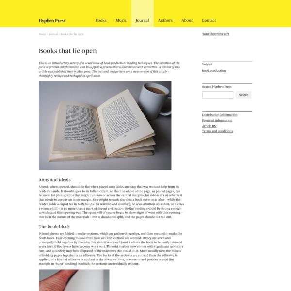 Books that lie open   Journal   Hyphen Press