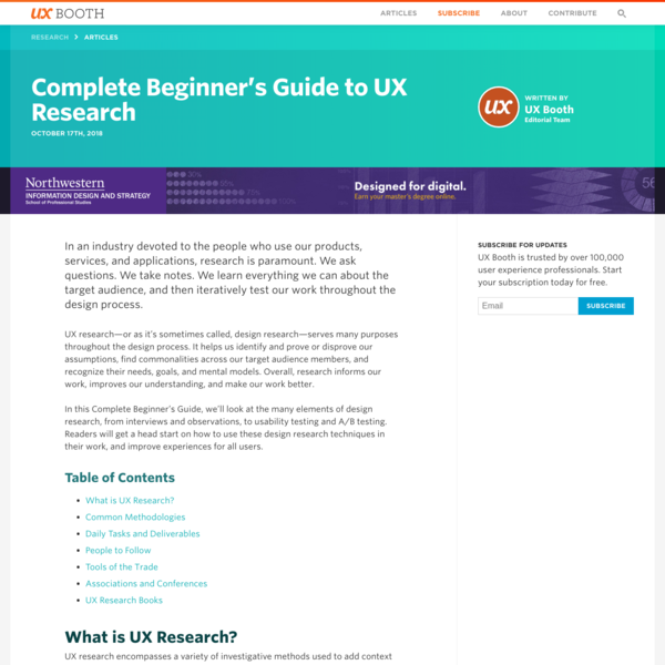 Complete Beginner's Guide to UX Research | UX Booth